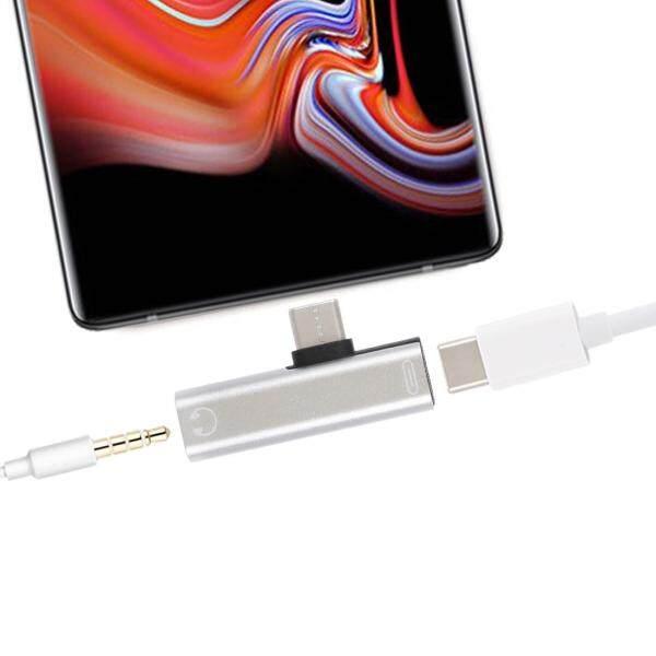 2 trong 1 USB-C/Loại C sang USB-C/Loại C Nữ 3.5mm Jack Cắm Sạc nghe Adapter (Đen)