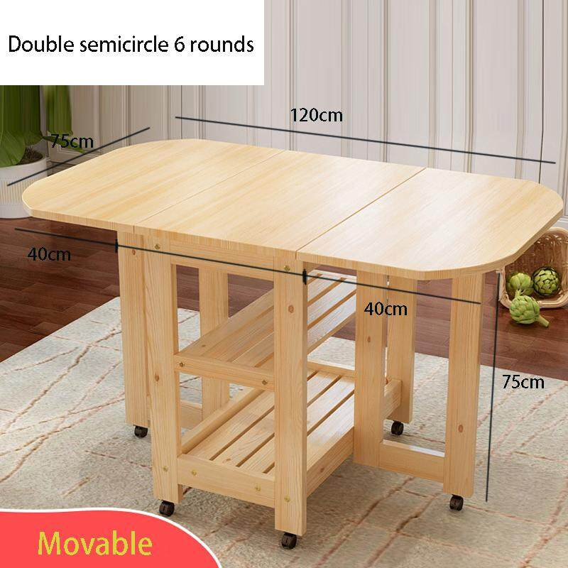 120x75x75cm, Solid Wood Dining Table with Wheels, 2 Layers Folding Semicircle Kitchen Table with Water-based paint, Island Cart Trolly Breakfast Bar
