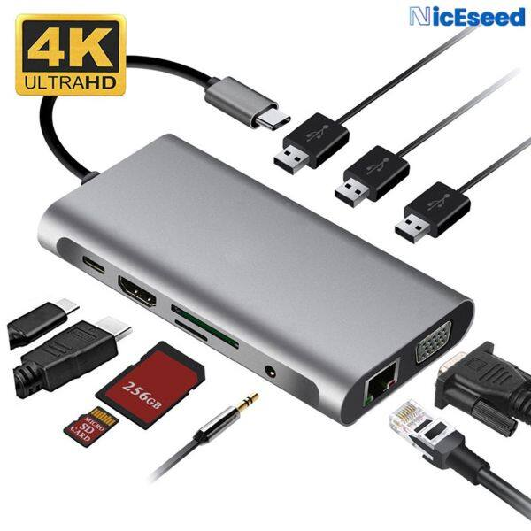 NicEseed【10 In 1】Usb 3.0 4K Hdmi Vga RJ45 Converter Type C Adapter Usb Hub Docking Station Compatible With Laptops With Type-C Interface Mobile Phone With Type-C Interface OTG Function