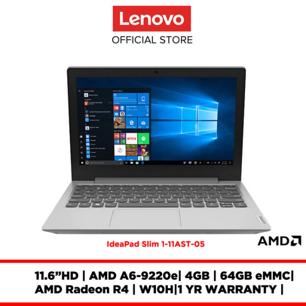 Lenovo Notebook Laptop ideapad Slim 1-11AST-05 Platinum Grey 81VR000DMJ 11.6HD/AMD A6-9220/4GB/64GBeMMC/Radeon R4/W10H/ Malaysia