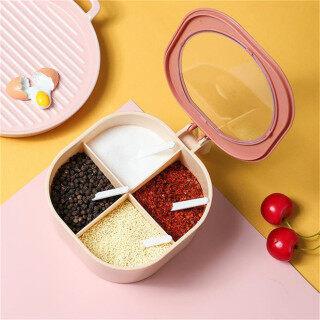 Style Home Safe Kitchen Spice Box Spice Pots Four Compartment Condiment Multi-grid Spice Jar Round Storage Box thumbnail