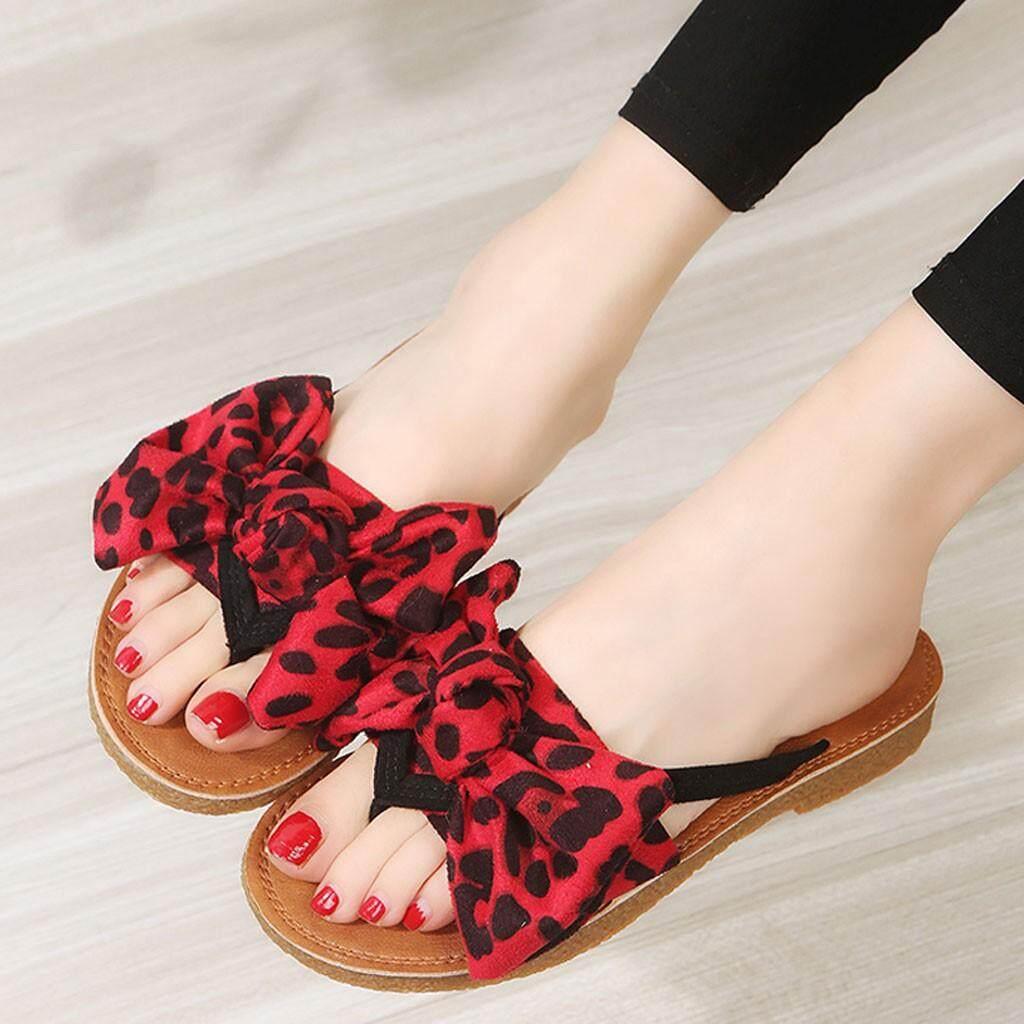 018aef7fac2c  antives Summer Bow Leopard Print Beach Flip Flops Sandals Women Slippers  Flat Sandals