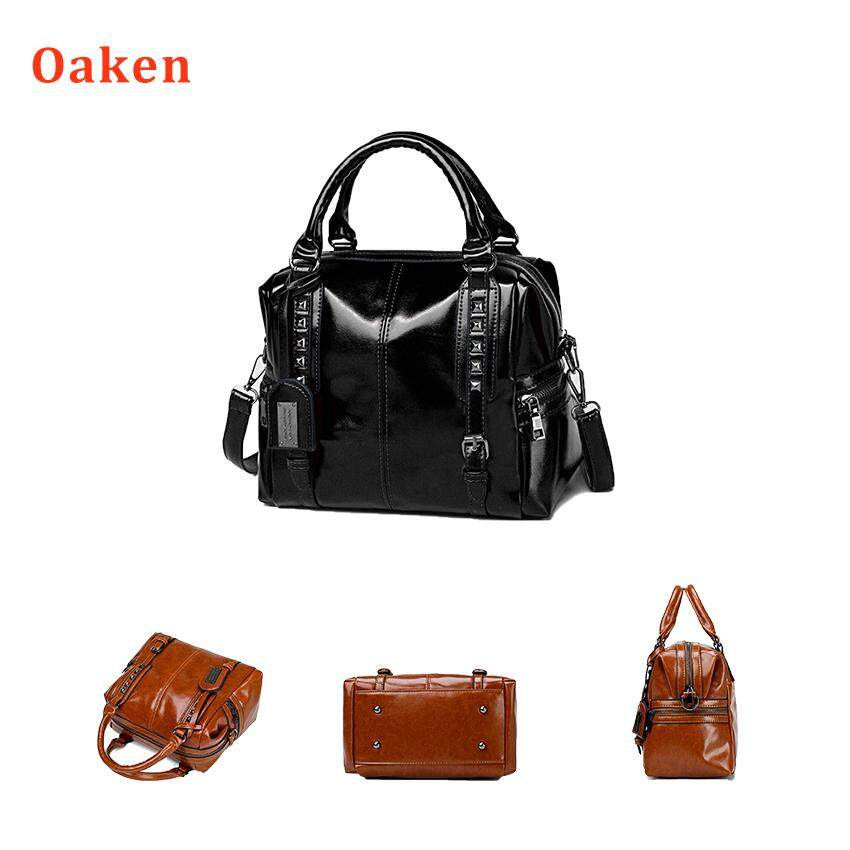 892e8640ba2408 Oaken Women Retro Handbag, Oil Wax Faux Leather Shoulder Bag Tote Crossbody  Bag for Ladies