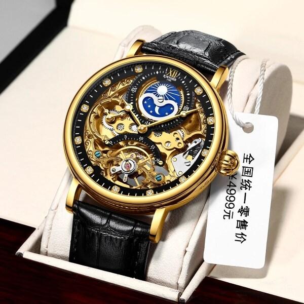 KINYUED Fashion Brand Watch Leather Tourbillon Mechanical Skeleton Automatic Mens Watch Waterproof Watch 2020 New Fashion Watch Gift Clock Malaysia