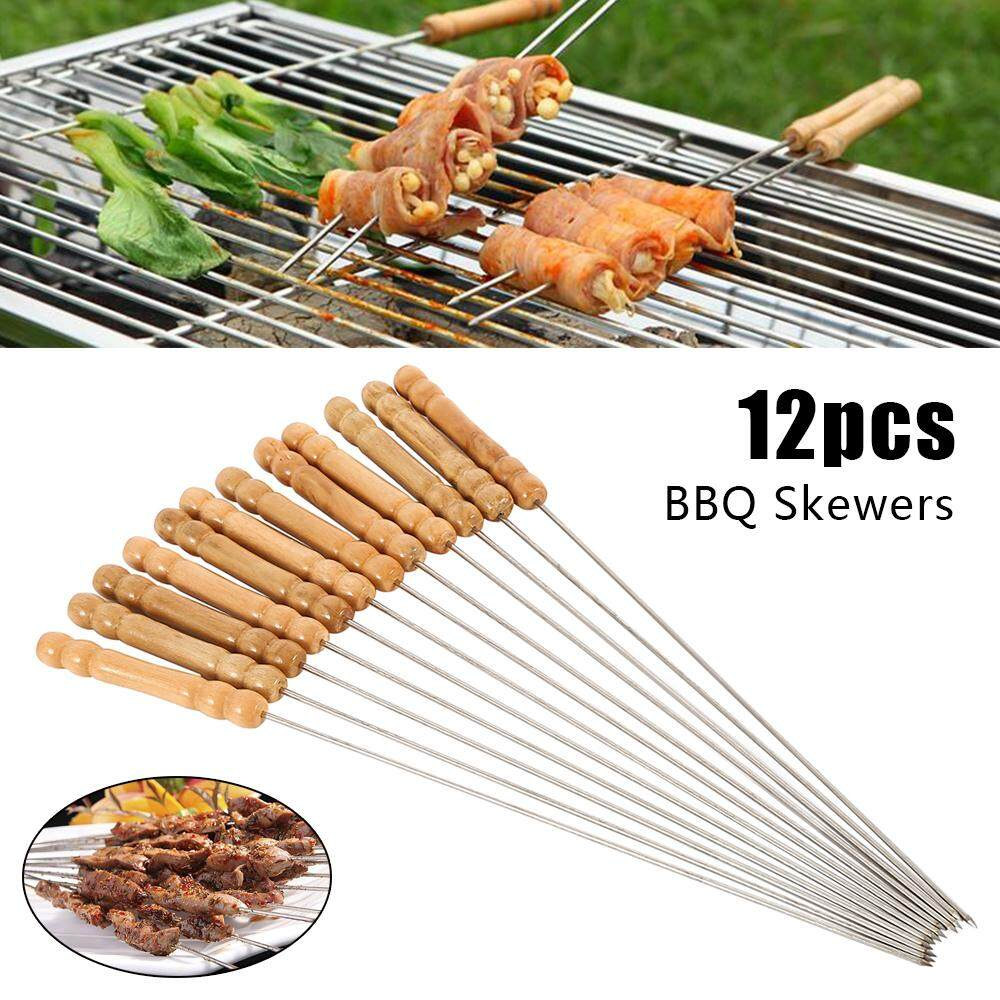 Stick Utensil 12pcs Stainless Steel Metal Barbecue Skewer Needle BBQ Kebab