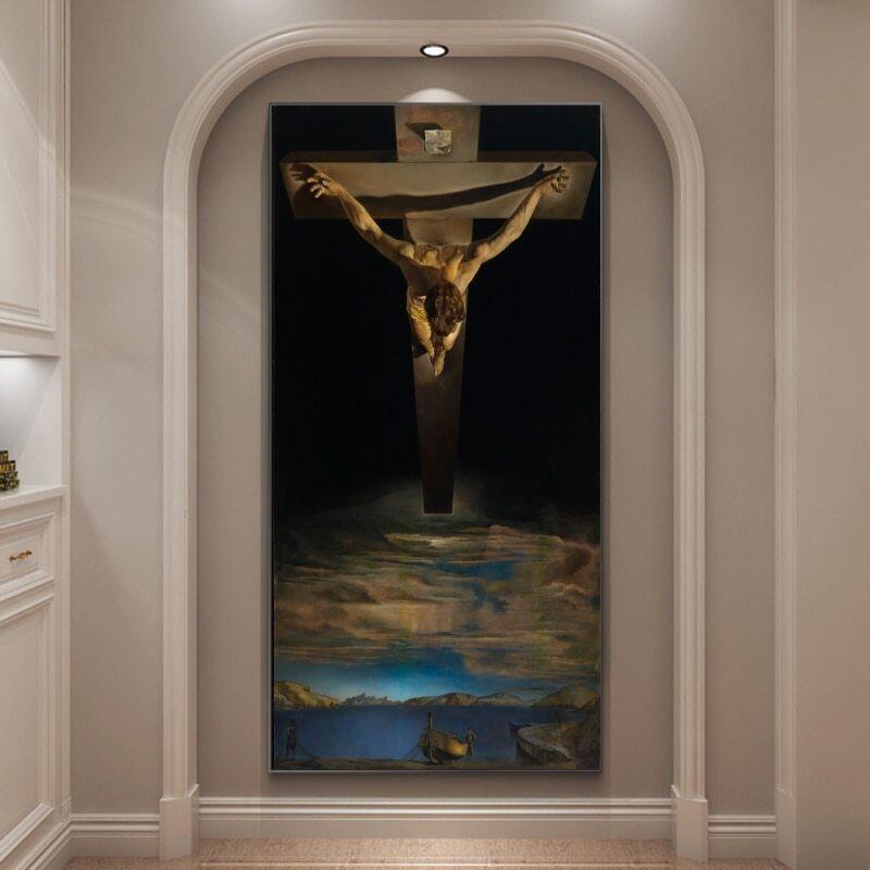 Vải Bạt Dầu Salvador Dali The Christ Giclee In Trên Vải Bạt Treo Tường Tranh In Và In Tranh Treo Tường, Dành Cho Trang Trí Phòng Khách Gia Đình 1 Chiếc Bên Trong Khung