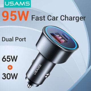 USAMS Sạc Xe Hơi Nhanh 95W, Màn Hình Kỹ Thuật Số Cổng Kép USB + PD thumbnail