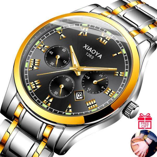 Bubblekiss XIAOYA Mens Watch Casual Fashion Luminous Calendar Watches Quartz Wristwatches Clock for Men【+ Free Gift 1Pcs Fashion Bracelet】 Malaysia