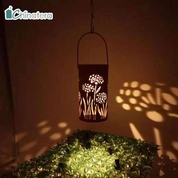 [Chinatera] Không Thấm Nước Năng Lượng Mặt Trời Ánh Sáng, Đèn Lồng Rỗng Kim Loại Họa Tiết Bồ Công Anh Chạy Điện Đèn Treo Chiếu Sáng Cảnh Quan Ngoài Trời Sân Vườn Bãi Cỏ