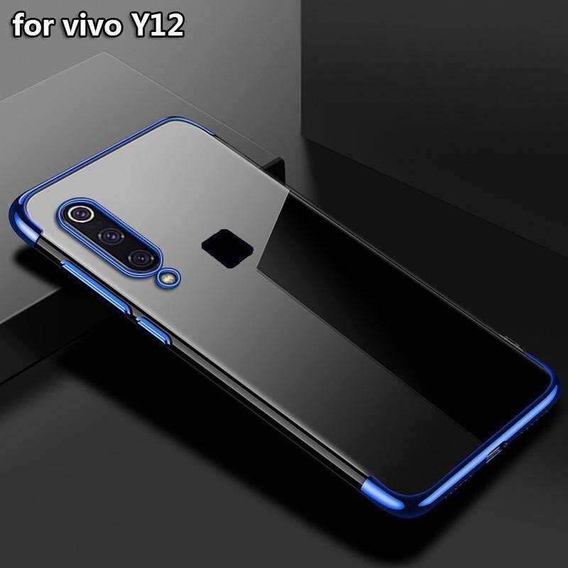 Upaitou Mewah Laser Elec-Plating Pelindung TPU untuk VIVO Y12 Transparan Casing Silikon Penutup Belakang Bening Shell untuk VIVO Y12-(6.35