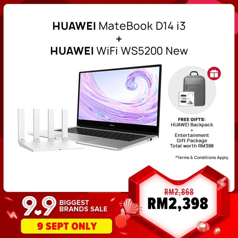 HUAWEI MateBook D14 i3 Laptop +HUAWEI WiFi WS5200 New Router| Free CD60 Backpack, Free Shipping Malaysia