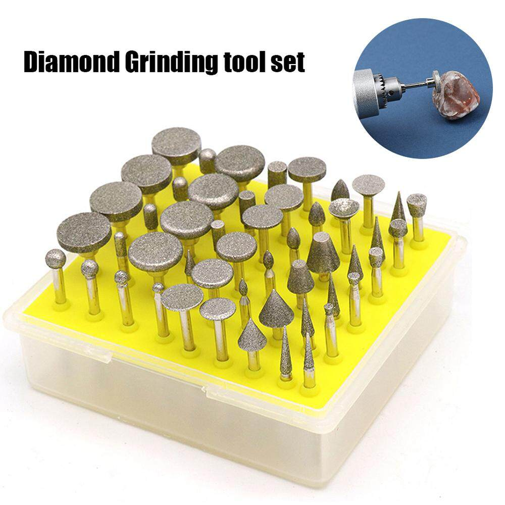 50pcs Diamond Grinding Heads 1/8-Inch Shank Diamond Coated Rotary Burrs Grinder Rotary Tool Set Grinding Cutting Head Drill Bits Metal Carving Polishing Electric Grinding Accessories
