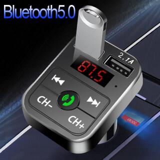 Bộ sạc nhanh Phụ Kiện Xe Hơi Bộ phát bluetooth 5.0 FM không dây Bộ thu âm thanh rảnh tay 2.1A Máy nghe nhạc MP3 tự động Cổng USB kép cho Huawei Xiaomi Samsung iPhone 12 thumbnail