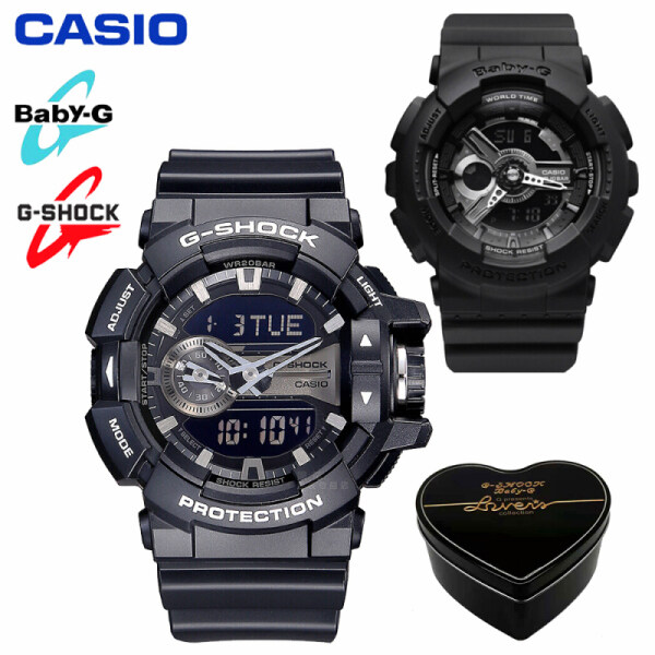 Original Casio G-Shock Baby-G GA400 BA110 Men Women Couple Set Sport Watch Dual Time Display Water Resistant Shockproof and Waterproof World Time LED Light Lover Sports Wrist Watches with 2 Years Warranty BA-110BC-1A/GA-400GB-1A (Ready Stock) Malaysia