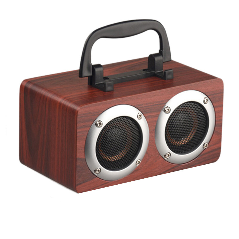 Portable W5B Bluetooth 4.2 Speaker Wooden Player Stereo Surround Player Double Horn with TF Card AUX Audio Soundbar