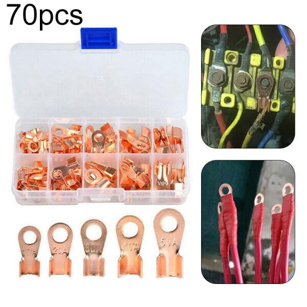 Comforhome 70pcs/set Boxed Copper Terminals Boxed Bare End Open SC Series Peephole Copper Terminal Block Electrical Connectors