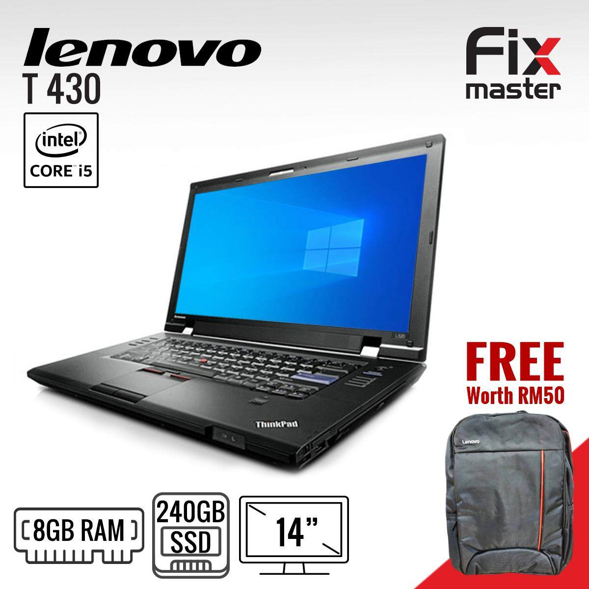Lenovo ThinkPad T430 Laptop / Intel Core i5- 3rd generation / 14 inches / Brand new 120GB SSD / Brand New 4GB RAM / 12 months warranty (Refurbished) / Excitement like brand new Malaysia