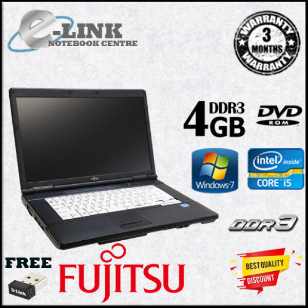 (REFURBISHED) LAPTOP FUJITSU LIFEBOOK A561/D / INTEL CORE i5-2ND GENERATION / 4 GB DDR3 RAM / 250 GB SATA HDD / 120GB SSD / 15.6 INCH LCD Malaysia
