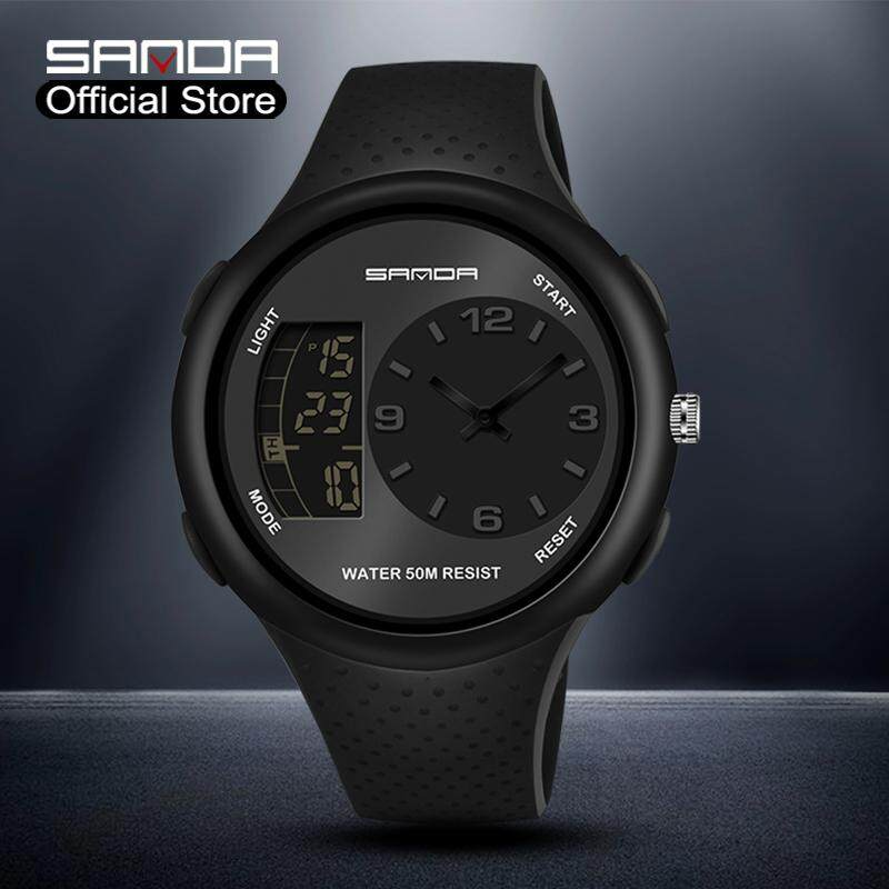SANDA New Listing Dual Display Multi-function Sports Mens Fashion Watch Luxury Brand Waterproof LED Men Watch Outdoor Digital Electronic Hot Watch For Men Malaysia