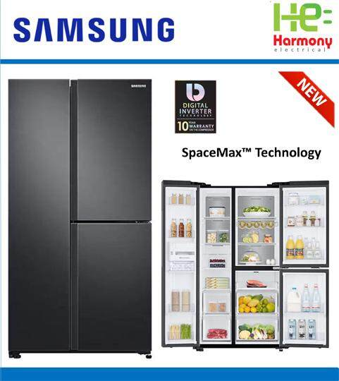 2019 New : Samsung 670L Side by Side Fridge with Large Capacity (SpaceMax) FlexZone RS63R5591B4/ME