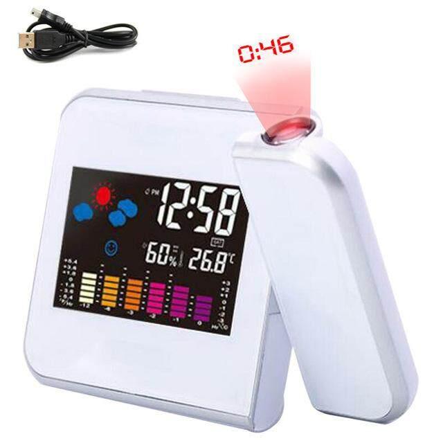 Nơi bán Đèn Led Chiếu Kỹ Thuật Số Đồng Hồ Báo Thức Nhiệt Kế Đo Nhiệt Độ Bàn Làm Việc Thời Gian Hiển Thị Ngày Máy Chiếu Lịch USB Bàn Sạc Đồng Hồ LED
