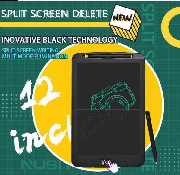 Máy Tính Bảng Viết LCD Chia Màn Hình 12 Inch Bảng Ghi Chú Văn Phòng Không Giấy, Bảng Vẽ Cho Trẻ Em Chia Màn Hình Xóa
