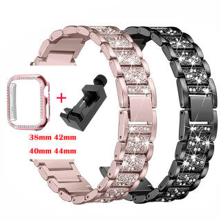 Dây Đồng Hồ Apple Watch 6 5 4 3 2 1, Dây Đeo Kim Loại Và Vỏ Đồng Hồ Apple Watch Series 5, Vòng Kim Cương 40Mm 44Mm, 38Mm 42Mm thumbnail