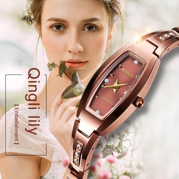 Đồng hồ nữ sang trọng phối vàng hồng mặt đồng hồ oval nữ tính có đính đá lấp lánh bán chạy