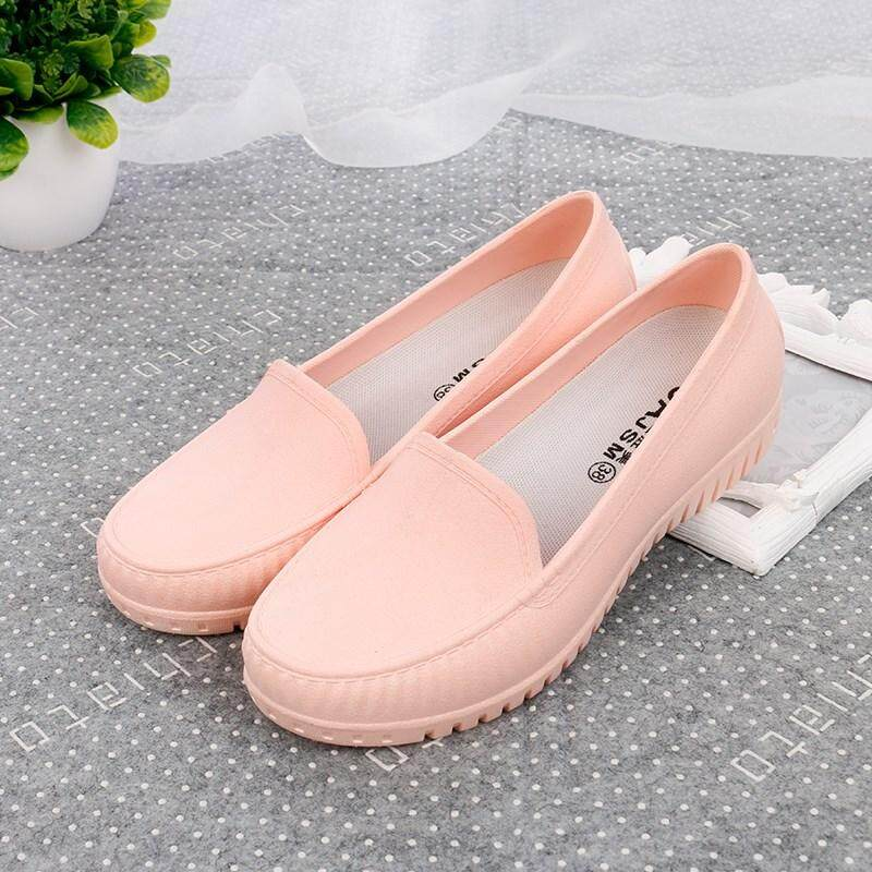 Korean Style Rain Boots Female Shallow Mouth Low Top Waterproof Rain Boots Schick Flat Anti-Slip Rain Shoes Nurse Shoes Mom Moccosins By Taobao Collection.