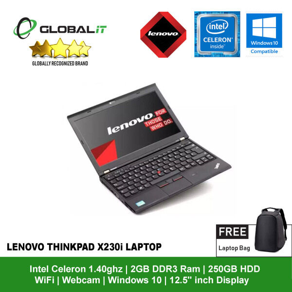 (Refurbished Notebook) Lenovo ThinkPad X230i Laptop / 12.5 inch LCD / Intel Celeron / 2GB DDR3 Ram / 250GB HDD / WiFi / Windows 10 / Webcam Malaysia