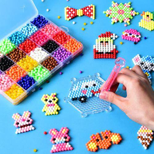 Coupon Khuyến Mại 1Set DIY Puzzle Water Magic Aqua Beads Spray Mist Bean Educational Kids Toy Gift
