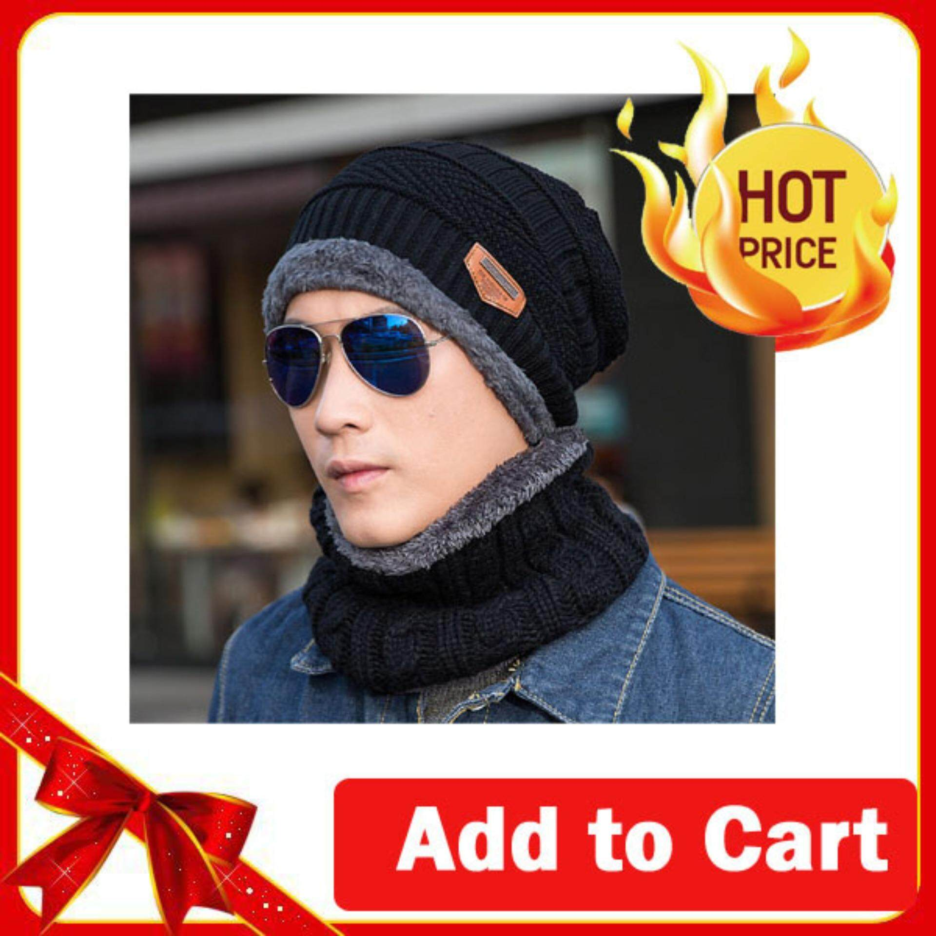 5b1f67bdcbadff 2 PCS Unisex Winter Knit Hat And Neck Warmer Scarf Set Men Women Thick  Knitted Skull