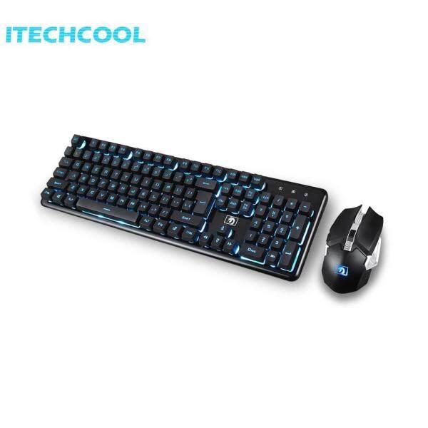 Chargable Ergonomic Gaming Wireless 104 Keys Keyboard Mouse Sets (Blue) Singapore
