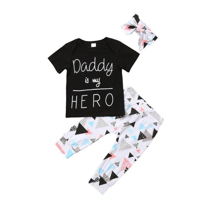 77f6bcdb97342 Newborn Baby Boy Girl Daddy is my HERO Tops T-shirt+Pants Outfit Clothes Set