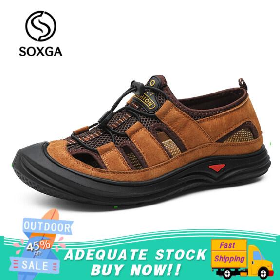 SOXGA Giày Da Thật Giày Mùa Hè Nam Dép Thời Trang Giày Giản Dị Giày Đi Biển Đế Mềm Nam Thoáng Khí giá rẻ