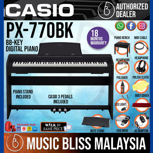 Casio PX-770 88-Keys Privia Digital Piano with Bench and Headphone - Black (PX770) Malaysia