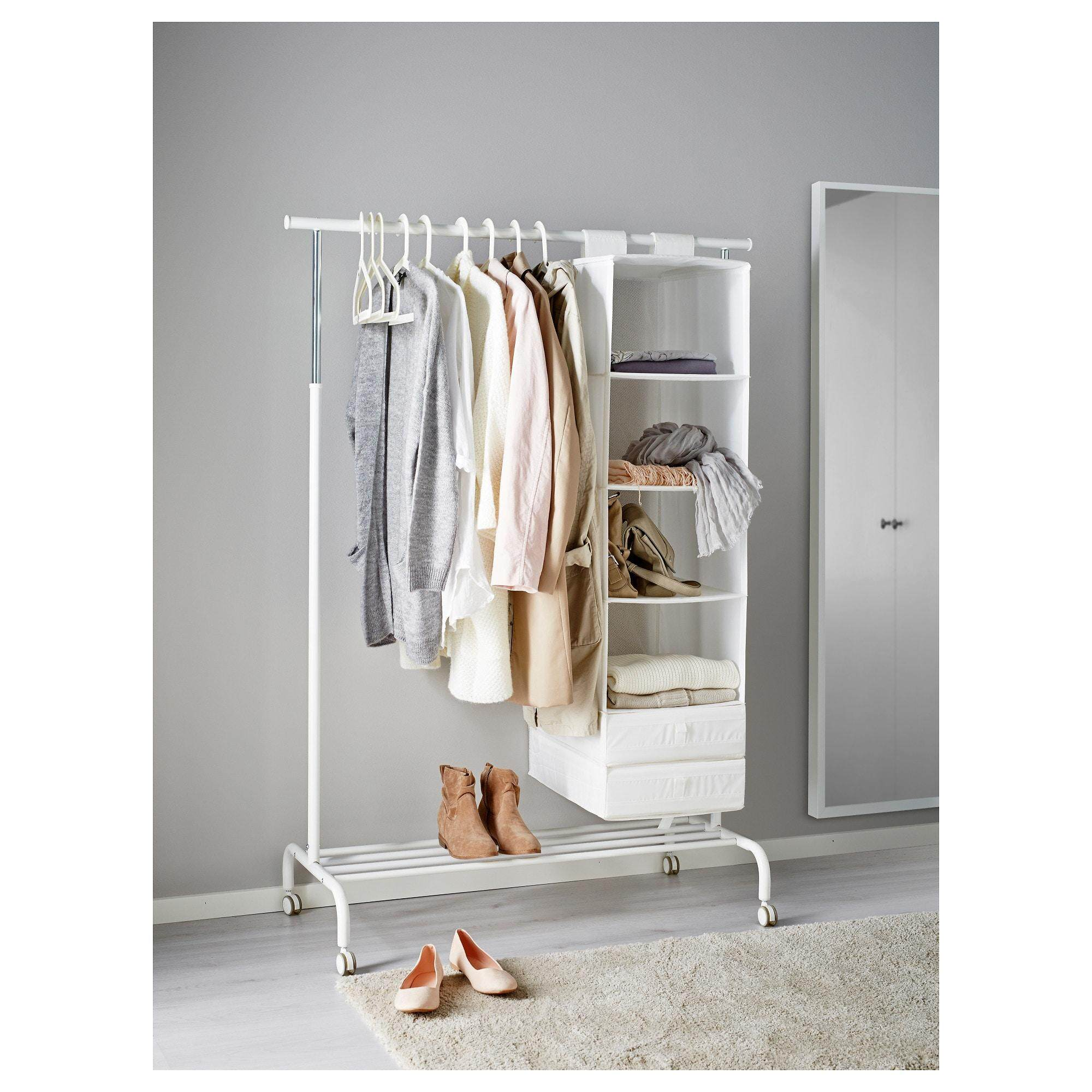 1KEA RIGGA Clothes Rack White Adjustable Height with Shoe Rack