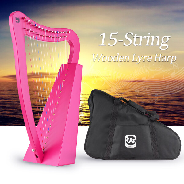 Walter.t 15-String Lyre Harp Wooden String Instrument with Carry Bag Strap Cleaning Cloth Tuning Wrench Pickup for Beginners Malaysia