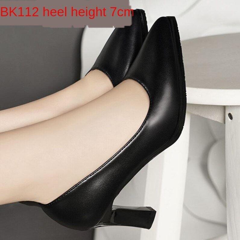 Giày Cao Gót Da Hongqingyu RZM327 Giày Cao Gót Nữ Cổ Thấp Mũi Nhọn Chuyên Nghiệp Mùa Thu 2020 Làm Việc Màu Đen Giày giá rẻ