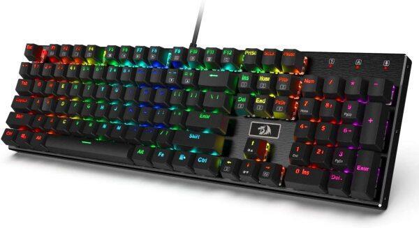 Redragon K556 RGB LED Backlit Wired Mechanical Gaming Keyboard, Brown Switch,Aluminum Base, 104 Standard Keys Singapore