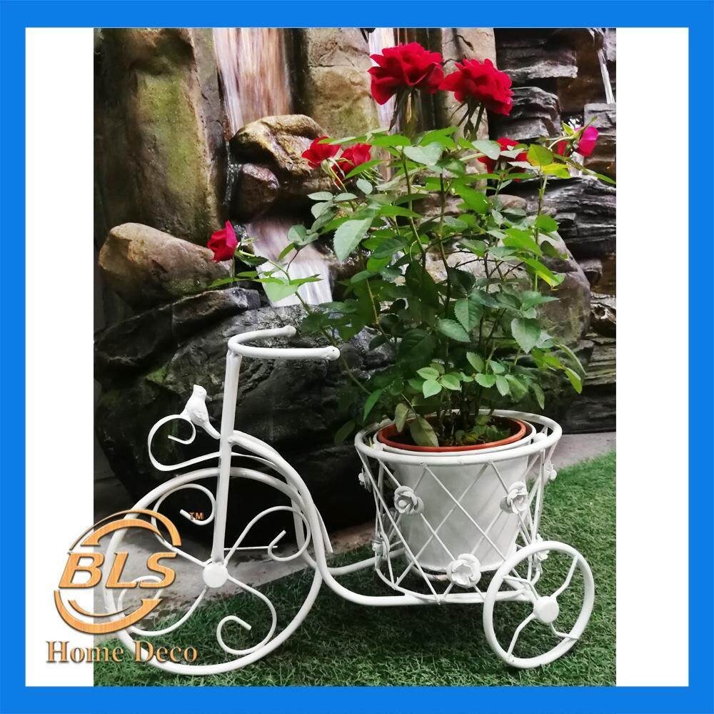 HEIGHT 30CM WHITE COLOR 1 POT STAND EUROPEAN STYLE BICYCLE DESIGN FLOWER RACK IRON STAND YLK004-1