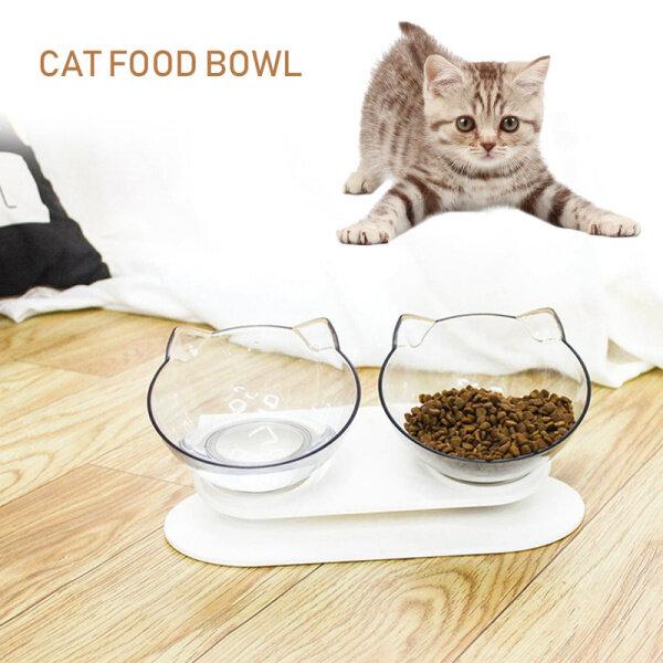 Mèo Đôi Bát mèo Bát chó bát trong suốt thực phẩm chống trượt Bát bảo vệ cổ tử cung vật nuôi trong suốt cho mèo chó ăn Bát đôi thiết kế tiện lợi và bền nhựa ABS xuất hiện cá nhân