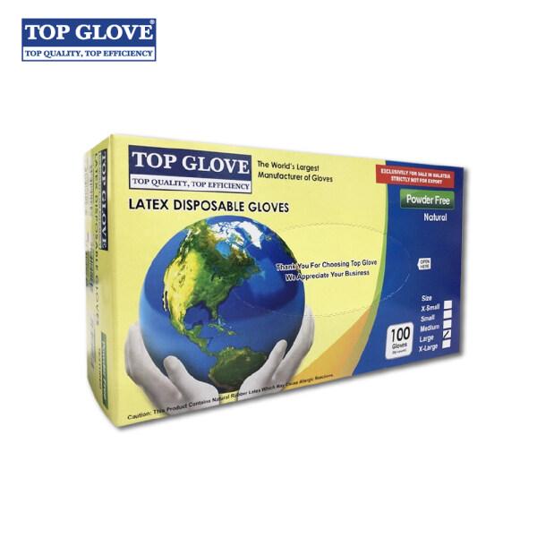 Top Glove Latex Disposable Glove, Powder Free Natural Color (100 Pcs Per Box)