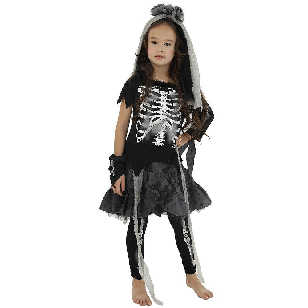 Halloween Costume For Kids Scary Skeleton Zombie Girls Dress Ghost Child Carnival Party Cosplay Headpiece Fancy Dress