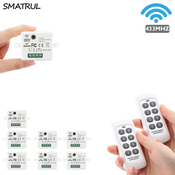 SMATRUL Mini Wireless Smart Switch Light Electrical 433MHZ RF 8 Key Remote Control Relay Receiver Home Led Lamp ON/OFF 220V
