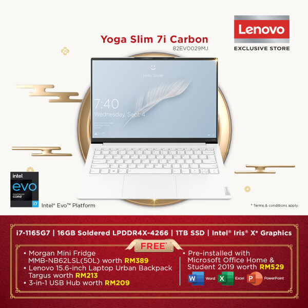 Lenovo Yoga Slim 7i Carbon 13ITL5 82EV0029MJ Laptop i7-1165G7 16GB 1TB SSD 13.3 W10 FREE Microsoft Office and Bag Malaysia