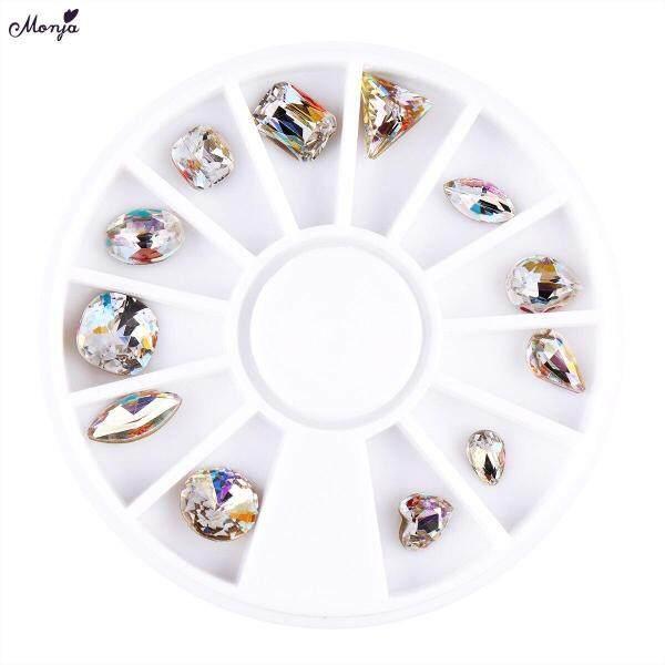 Hộp 12 khay đựng các hạt pha lê kim cương giả lấp lánh làm bằng nhựa AB đựng trong khay dạng bánh xe dùng để trang trí móng tay nghệ thuật - INTL giá rẻ