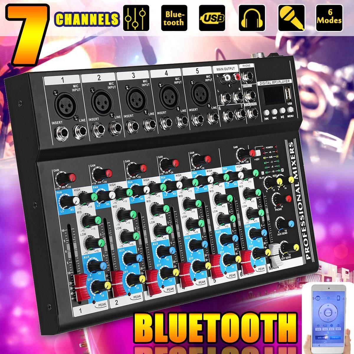 Bluetooth 7 Kênh Sống Phòng Thu Âm Thanh Stereo Phối Trộn Âm Thanh DJ USB Tay Cầm