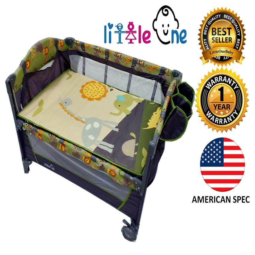 Little One Portable Infant Baby Cot Playpen Travel Bed With Side Slide Door