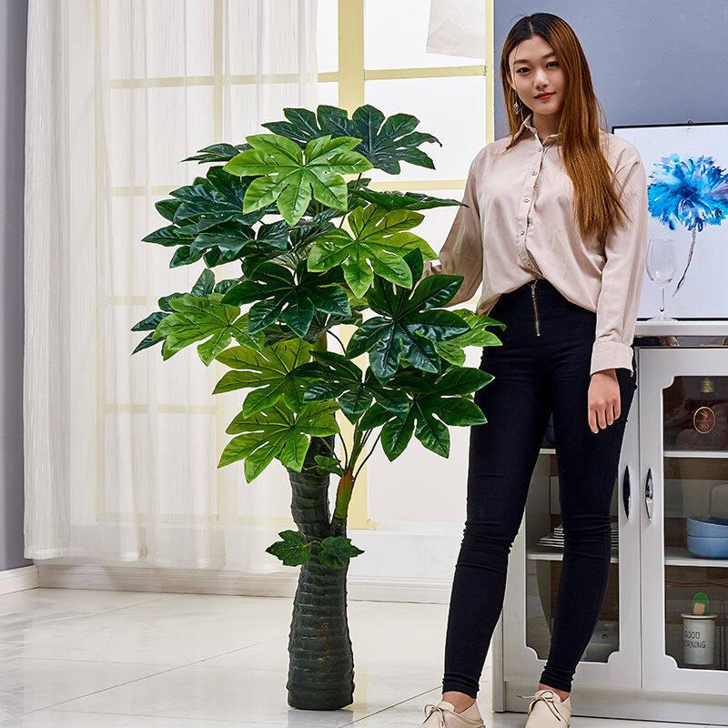Facai Tree Simulation Plant Potted Plants Plastic Fake Trees Large Living Room Floor Fake Bonsai Decorative Indoor Flowers